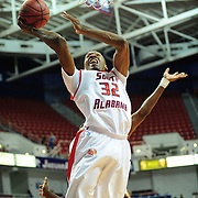 South Alabama's forward Javier Carter (32) shoots a layup in the first half of play in Mobile, AL. Denver leads South Alabama 30-24 at halftime on January 7, 2012...