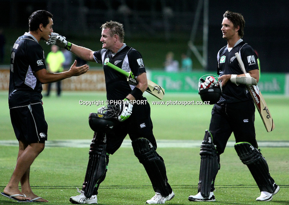 Captain Ross Taylor welcomes Scott Styris and Shane Bond off the field after the win. New Zealand Black Caps v Australia. 1st ODI, Chappell-Hadlee Trophy Series. McLean Park, Napier. Wednesday 03 March 2010  Photo: John Cowpland/PHOTOSPORT