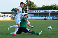 Picture by Ian Wadkins/Focus Images Ltd +44 7877 568959<br /> 25/07/2013<br /> Jonathan Hill-Dunt of Prestatyn Town and Dražen Pilčić of FC Rijeka stretch for the ball during the second leg of the UEFA Europa League round two qualifying match at Belle Vue Stadium, Rhyl.