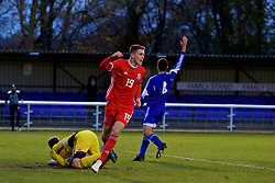 BANGOR, WALES - Tuesday, November 20, 2018: Wales' Lewis Collins celebrates scoring the first goal during the UEFA Under-19 Championship 2019 Qualifying Group 4 match between Wales and San Marino at the Nantporth Stadium. (Pic by Paul Greenwood/Propaganda)