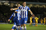Brighton striker, Tomer Hemed (10) celebrates his goal during the Sky Bet Championship match between Brighton and Hove Albion and Fulham at the American Express Community Stadium, Brighton and Hove, England on 15 April 2016. Photo by Phil Duncan.