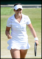 Laura Robson celebrates beating Marina Erakovic at<br /> The All England Lawn Tennis Club, Wimbledon, United Kingdom<br /> Saturday, 29th June 2013<br /> Picture by Andrew Parsons / i-Images