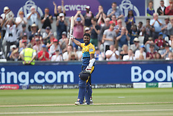 July 1, 2019 - Chester Le Street, County Durham, United Kingdom - Sri Lanka's Avishka Fernando celebrates after scoring his maiden ODI hundred during the ICC Cricket World Cup 2019 match between Sri Lanka and West Indies at Emirates Riverside, Chester le Street on Monday 1st July 2019. (Credit Image: © Mi News/NurPhoto via ZUMA Press)