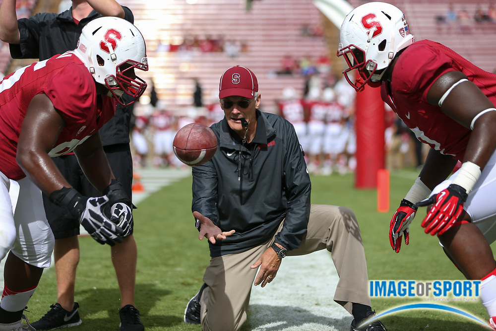 Sep 28, 2013; Stanford, CA, USA: Stanford Cardinal defensive line coach Randy Hart, prior to the game against the Arizona State Sun Devils at Stanford Stadium. Stanford defeated Arizona State 42-28.