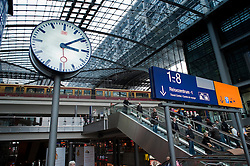 Interior of main railway station or Hauptbahnhof in Berlin Germany 2009
