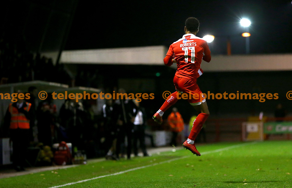 Crawley's Jordan Roberts celebrates in style during the Sky Bet League 2 match between Crawley Town and Exeter City at the Checkatrade Stadium in Crawley. 21 Nov 2017<br /> *** NO SOCIAL MEDIA ***