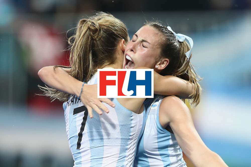 RIO DE JANEIRO, BRAZIL - AUGUST 10:  Martina Cavallero and Florencia Habif Argentina celebrate Florencia Habif scoring a goal  during the women's pool B match between Great Britain and Argentina on Day 5 of the Rio 2016 Olympic Games at the Olympic Hockey Centre on August 10, 2016 in Rio de Janeiro, Brazil.  (Photo by Mark Kolbe/Getty Images)