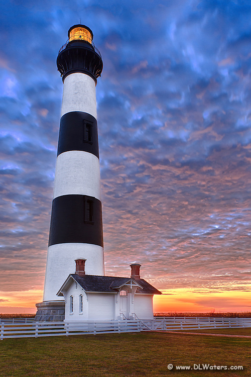 Bodie Island Lighthouse just before dawn on the Outer Banks.