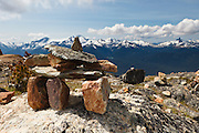 A tourist's representation of Inuksuk, Whistler Mountain, British Columbia, Canada,