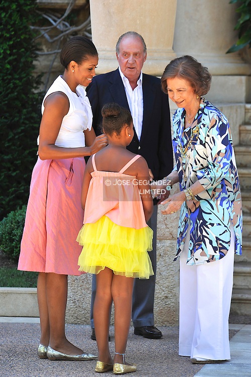 Sasha Obama, King Juan Carlos of Spain, U.S. first lady Michelle Obama, Queen Sofia of Spain and Princess Letizia of Spain at the Marivent Palace on August 8, 2010 in Palma de Mallorca, Spain.