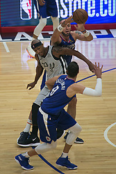 November 15, 2018 - Los Angeles, California, U.S - Marcin Gortat #13 of the Los Angeles Clippers passes to teammate Danilo Gallinari #8 during their NBA game with the San Antonio Spurs on Thursday November 15, 2018 at the Staples Center in Los Angeles, California. (Credit Image: © Prensa Internacional via ZUMA Wire)
