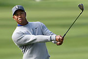 Tiger Woods hits a wedge onto the 17th green. Woods returned to Riviera Country Club to get in a practice round before the Genesis Open. It is Woods first return to Riviera in a number of years. The tournament begins on Thursday. Pacific Palisades, CA 1/13/2018 (Photo by John McCoy)
