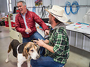 """24 JANUARY 2020 - POLK CITY, IOWA: JOE WALSH jokes with a man who brought his dog to a campaign event in Polk City, northwest of Des Moines. Walsh, a conservative radio personality, former Republican congressman, and one time supporter of Donald Trump is now challenging Trump for the Republican nomination for the US Presidency. During his appearance in Polk City, Walsh said Trump is unfit to be the President because he is a """"cheater,"""" a climate change denier, and a """"threat"""" to the United States.   PHOTO BY JACK KURTZ"""