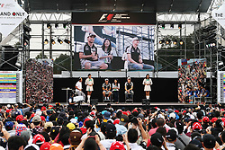 (L to R): Sergio Perez (MEX) Sahara Force India F1 and team mate Nico Hulkenberg (GER) Sahara Force India F1 at the fans' stage.<br /> 08.10.2016. Formula 1 World Championship, Rd 17, Japanese Grand Prix, Suzuka, Japan, Qualifying Day.<br /> Copyright: Moy / XPB Images / action press