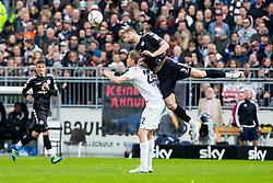 16.04.2016, Millerntor, Hamburg, GER, 2. FBL, FC St. Pauli vs VfL Bochum, 30. Runde, im Bild Simon Terodde (Nr. 22, VfL Bochum) gegen Lasse Sobiech (Nr. 3, FC St. Pauli). // during the 2nd German Bundesliga 30th round match between FC St. Pauli and VfL Bochum at the Millerntor in Hamburg, Germany on 2016/04/16. EXPA Pictures © 2016, PhotoCredit: EXPA/ Eibner-Pressefoto/ Koenig<br /> <br /> *****ATTENTION - OUT of GER*****