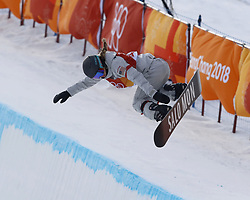 February 12, 2018 - Pyeongchang, KOREA - Maddie Mastro (USA) competes in run two in the ladies halfpipe qualification during the Pyeongchang 2018 Olympic Winter Games at Phoenix Snow Park. (Credit Image: © David McIntyre via ZUMA Wire)