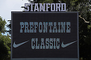 General overall view of the scoreboard at Cobb Track & Angelll Field prior to the 45th Prefontaine Classic, Saturday, June 29, 2019, in Stanford,  Calif.