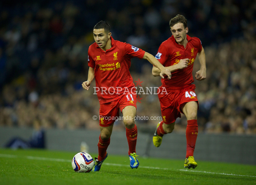 WEST BROMWICH, ENGLAND - Wednesday, September 26, 2012: Liverpool's Oussama Assaidi and Jack Robinson in action against West Bromwich Albion during the Football League Cup 3rd Round match at the Hawthorns. (Pic by David Rawcliffe/Propaganda)