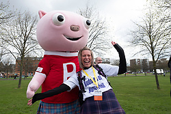 Glasgow, UK. 29 April, 2018. Start of Kiltwalk 2018 at Glasgow Green in Glasgow. Major charity fundraising walk is taking place in Scotland supported by The Hunter Foundation. Route is 23 Miles and ends at Balloch.