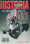 Front cover of issue no. 489 of Historia, a monthly history magazine, published September 1987, a special edition covering the great century of Ancient Rome. Historia was created by Jules Tallandier and published 1909-37 and again from 1945. Picture by Manuel Cohen
