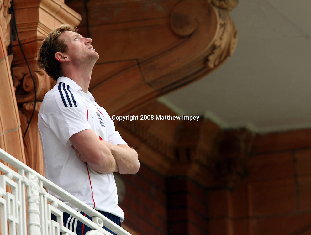 Paul Collingwood of England stares up at the sky from the players balcony. England v New Zealand, Day 3, 1st Npower Test, Lord's Cricket Ground, St.Johns Wood, London,17/05/2008. © Matthew Impey / Wiredphotos.co.uk. tel: 07789 130 347 e: matt@wiredphotos.co.uk