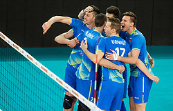 Dejan Vincic of Slovenia, Alen Pajenk of Slovenia, Tine Urnaut of Slovenia, Jan Kozamernik of Slovenia celebrate during volleyball match between National teams of Slovenia and Portugal in 2nd Round of 2018 FIVB Volleyball Men's World Championship qualification, on May 26, 2017 in Arena Stozice, Ljubljana, Slovenia. Photo by Vid Ponikvar / Sportida