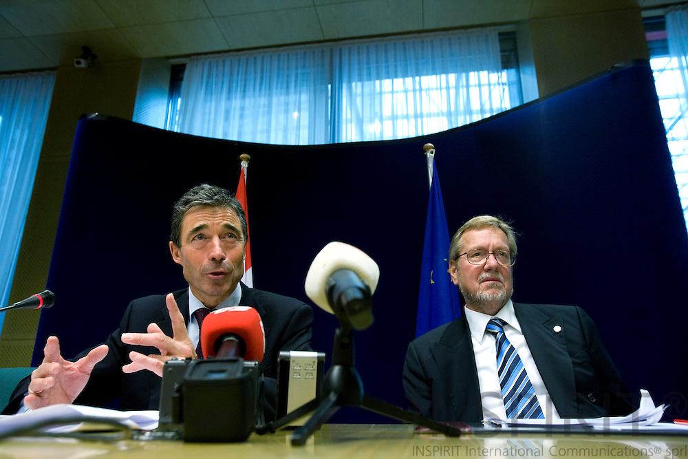 BRUSSELS - BELGIUM - 16 OCTOBER 2008 -- European Council, EU-summit under French Presidency; From left the Danish Prime Minister Anders Fogh RASMUSSEN and the Minister for Foreign Affairs Per Stig MØLLER (Moller, Moeller) during their final press conference.  Photo: Erik Luntang.