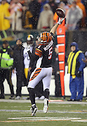 Cincinnati Bengals quarterback AJ McCarron (5) winds up and throws a fourth quarter desperation pass at the end of the NFL AFC Wild Card playoff football game against the Pittsburgh Steelers on Saturday, Jan. 9, 2016 in Cincinnati. The Steelers won the game 18-16. (©Paul Anthony Spinelli)