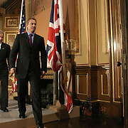 Pres. Bush and the Prime Minister of the United Kingdom Tony Blair arrive for a news conference at the Foreign Office Thursday, November 20, 2003, in London.  ..Photo by Khue Bui