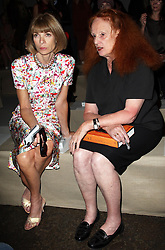 Anna Wintour and Grace Coddington at the Donna Karan show at  New York Fashion Week, Monday, 10th  September 2012. Photo by: Stephen Lock / i-Images