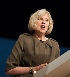 Theresa May MP, Home Secretary keynote speech during the Conservative Party Conference, ICC, Birmingham, Great Britain, October 9, 2012. Photo by Elliott Franks / i-Images.