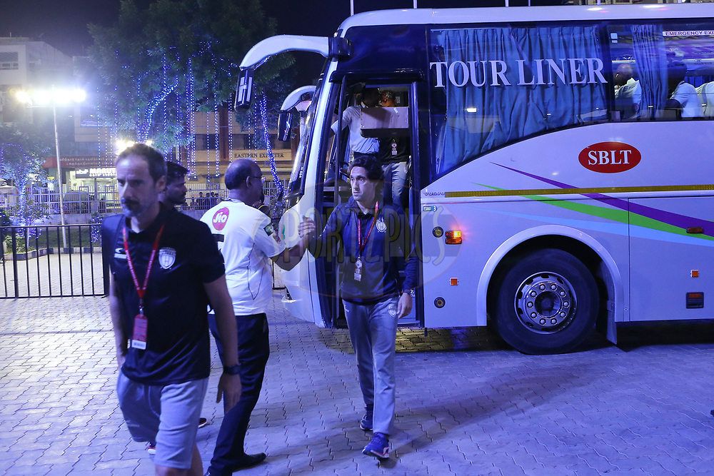 North East United arrive at the stadium during match 6 of the Hero Indian Super League between Chennaiyin FC and NorthEast United FC held at the Jawaharlal Nehru Stadium, Chennai, India on the 23rd November 2017<br /> <br /> Photo by: Ron Gaunt / ISL / SPORTZPICS