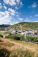 Midmorning elevated view of Old Town Park City, Utah.