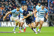 Sean Maitland on the break during the Autumn Test match between Scotland and Argentina at Murrayfield, Edinburgh, Scotland on 24 November 2018.