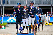 Podium 7 years 1. Thierry Goffinet - Think Twice 111 Z, 2. Luc Steeghs - Everest, 3. Lorenzo de Luca - Jeleena de Muze<br /> FEI World Breeding Jumping Championships for Young Horses 2016<br /> © DigiShots