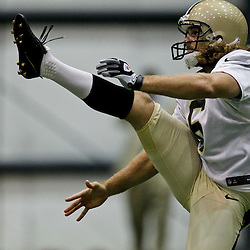 July 27, 2012; Metairie, LA, USA; New Orleans Saints punter Thomas Morstead (6) during training camp at the team's indoor practice facility. Mandatory Credit: Derick E. Hingle-US PRESSWIRE
