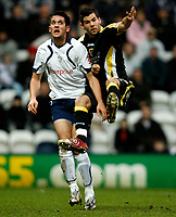 Photo: Paul Greenwood/Sportsbeat Images.<br />Preston North End v Cardiff City. Coca Cola Championship. 29/12/2007.<br />Cardiff's Joe Ledley (R) tries an acrobatic attempt to win the ball from Darren Carter
