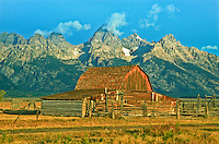 The historic Moulton Barn on Mormon Row is a sign of early homesteading.  Grand Teton National Park.  Wyoming, USA