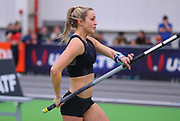 Katherine Pitman ties for fourth in the women's pole vault at 14-3½ (4.36m) during the USA Indoor Track and Field Championships in Staten Island, NY, Sunday, Feb 24, 2019. (Rich Graessle/Image of Sport)