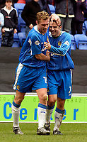 Photo. Jed Wee.<br /> Wigan Athletic v Crystal Palace, Nationwide League Division One, JJB Stadium, Wigan. 01/11/03.<br /> Wigan's Geoff Horsfield (L) celebrates his goal with Andy Liddell.