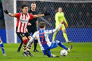 04-02-2016 VOETBAL:PSV-UTRECHT:BEKER:EINDHOVEN<br /> Rico Strieder van FC Utrecht met een sliding op Hector Moreno van PSV <br /> <br /> Foto: Geert van Erven