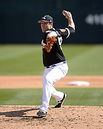 GLENDALE, ARIZONA - FEBRUARY 28:  Rob Scahill #52 of the Chicago White Sox pitches against the Texas Rangers on February 28, 2018 at Camelback Ranch in Glendale Arizona.  (Photo by Ron Vesely)  Subject:   Rob Scahill