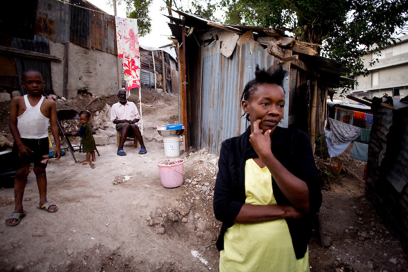 Roselor Losty's house came collapsted, she lost all her possesions and two relatives in the earthquake. She built a temperary shelter but is fearful that the government or a land owner is going to come and ask her to leave. Nerettes, Haiti. Photo by Ben Depp 2/8/2010