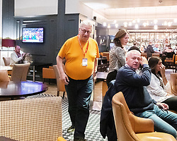 © Licensed to London News Pictures . 20/09/2019. Brighton, UK. Momentum founder JOHN LANSMAN is seen in the Hilton Brighton Metropole Hotel , which hosts a number of Labour fringe events , after a meeting of the National Executive Committee this evening (Friday 20th September 2019). The Momentum founder proposed a motion to scrap the post of Deputy Leader at the meeting . The Deputy Leader's post is currently occupied by Tom Watson . Lansman cited Watson's disloyalty over Brexit as motive for the motion . The 2019 Labour Party Conference from the Brighton Centre . Photo credit: London News Pictures