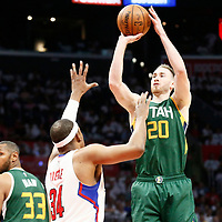 30 April 2017: Utah Jazz forward Gordon Hayward (20) takes a jump shot over LA Clippers forward Paul Pierce (34) during the Utah Jazz 104-91 victory over the Los Angeles Clippers, during game 7 of the first round of the Western Conference playoffs, at the Staples Center, Los Angeles, California, USA.