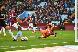 March 16, 2019 - Birmingham, England, United Kingdom - Middlesbrough goalkeeper Darren Randolph (23) dives as Albert Adomah (37) of Aston Villa scoots and scores to make it 3-0 during the Sky Bet Championship match between Aston Villa and Middlesbrough at Villa Park, Birmingham on Saturday 16th March 2019. (Credit Image: © Mi News/NurPhoto via ZUMA Press)
