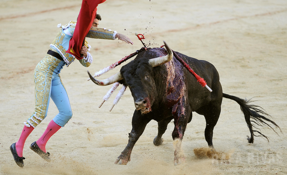 Spanish matador Francisco Marco kills with sword his Conde de la Corte fighting bull during the first corrida of the San Fermin festivities, on July 7, 2008, in Pamplona, northern Spain.
