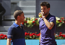 May 12, 2019 - Madrid, MADRID, SPAIN - Diego Schwartzman (ARG) and Dominic Thiem (AUT) during the Mutua Madrid Open 2019 (ATP Masters 1000 and WTA Premier) tenis tournament at Caja Magica in Madrid, Spain, on May 12, 2019. (Credit Image: © AFP7 via ZUMA Wire)