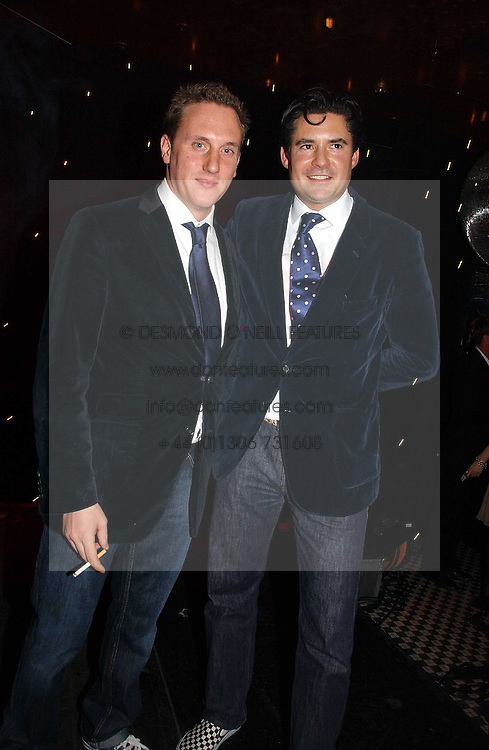 Left to right, HARRY BECHER and EDWARD TAYLOR at The Christmas Cracker - an evening i aid of the Starlight Children's Charity held at Frankies, Knightsbridge on 13th December 2006.<br />