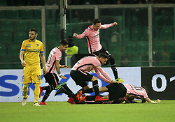 March 10, 2018 - Palermo, Sicily, Italy - Players of Palermo celebrate after scoring the opening goal uring the serie B match between US Citta di Palermo and Frosinone at Stadio Renzo Barbera on March 10, 2018 in Palermo, Italy. (Credit Image: © Gabriele Maricchiolo/NurPhoto via ZUMA Press)